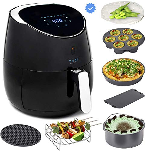 Yedi Total Package Ceramic Air Fryer XL, 5.5 Liters , Kit de accesorios de cerámica Deluxe, Recetas, Negro