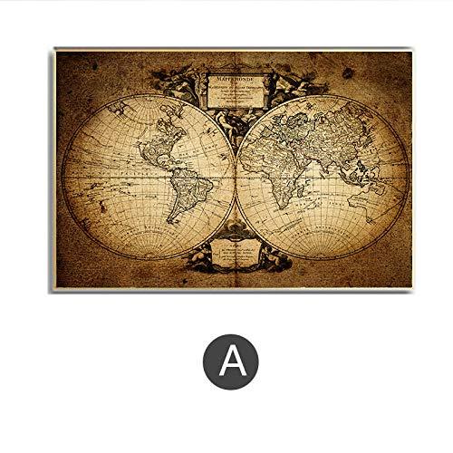 Franse retro vintage grote oude wereldkaart poster print kunst, 17e eeuw wereldkaart poster print, geweldige cadeaus voor thuis en op kantoor 50x75cm zonder frame