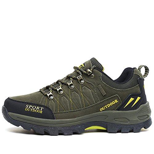 GOMNEAR Botas de Senderismo y Trekking Zapatos de Hombre Baja Arriba Invierno Al Aire Libre Antideslizante Alpinismo Zapatillas Green-43