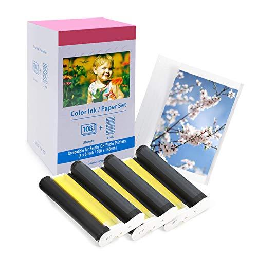 Compatibile con Canon KP-108IN Carta fotografica e Cartuccia per Stampante Selphy CP1300 CP1200 CP1000 CP910 CP740, 3115B001(AA) Inchiostro Colori Carta Set, 108 Fogli A6 Foto 100 x148 mm