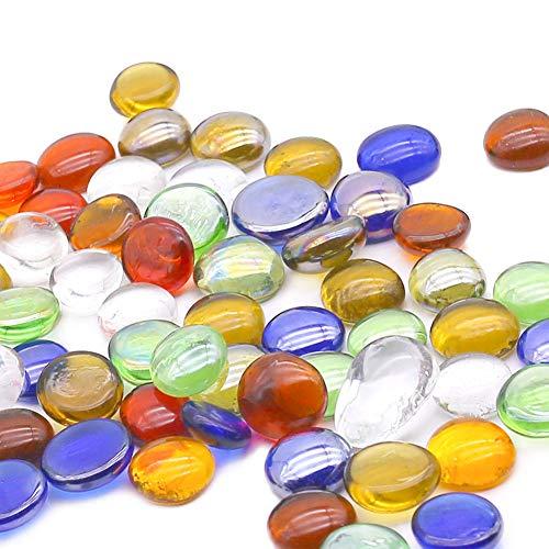 HAKACC Glasnuggets bunt, 900g Glassteine Deko Glassteine bunt Muggelsteine Mosaiksteine zum basteln, ca. 15-20mm