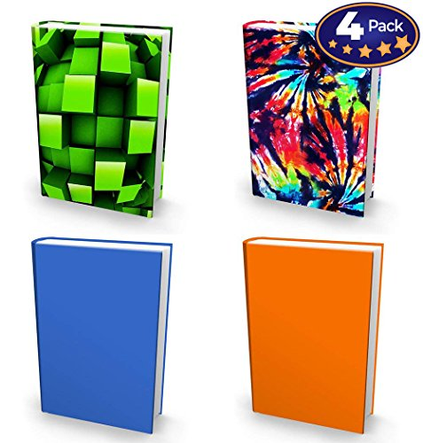 Book Sox Stretchable Book Cover: 4 Print Value Pack Neutral Colors. Fits Most Hardcover Textbooks up to 9x11. Adhesive-Free, Nylon Fabric School Book Protector. Easy to Put On Jacket. Wash & Re-Use