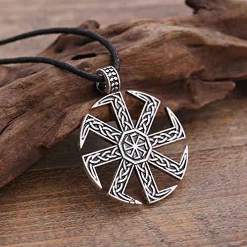 N/G Símbolo Pagan Sun Wheel Amuleto Colgante Collar con Joyero
