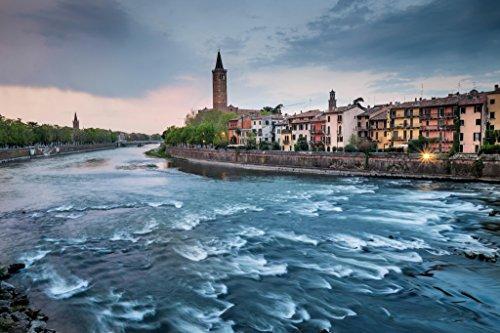 Verona Veneto Italy Cityscape Adige River Photo Art Print Poster 18x12