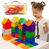 Waffle Blocks for Toddlers & Kids 96 Pcs– STEM Building Toys with Plastic Storage Container – 3 Years Old & Up