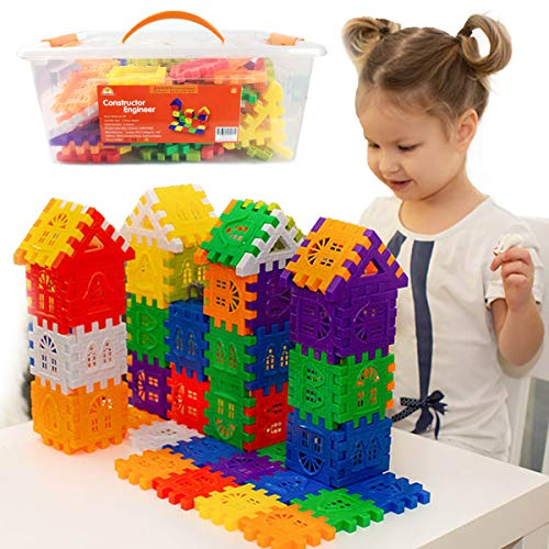 Waffle Blocks for Toddlers & Kids 96 Pcs Jumbo Toy Building Sets– STEM Building Toys with Storage Container –Kindergarten Toys Preschool manipulatives for Toddlers