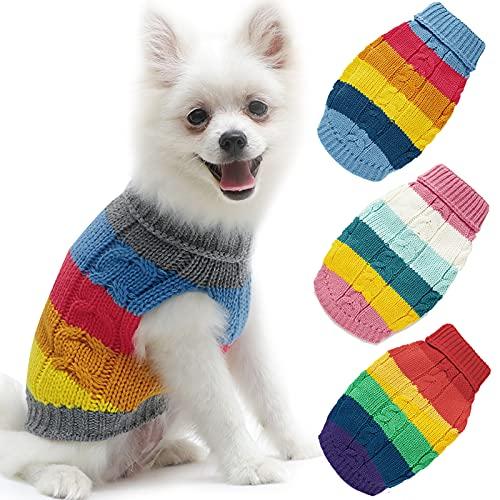 Hundepullover Haustier Strickwolle Winter Warmer Pullover Rollkragen, Regenbogen Hund Katzenpullover Kleidung Kostüm Welpenpullover Haustiermantel für Welpen Kleine Mittelgroße Hunde