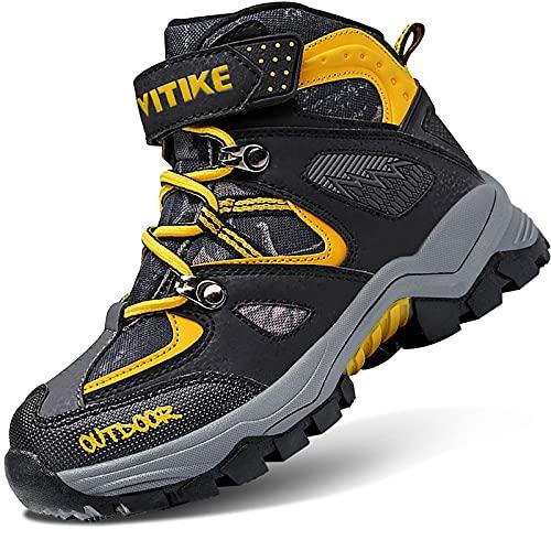 VITIKE Śniegowce dziecięce, chłopięce, z ciepłą podszewką, buty na śnieg, buty trekkingowe, buty dla chłopców i dziewczynek, - 0 żółty - 31 EU