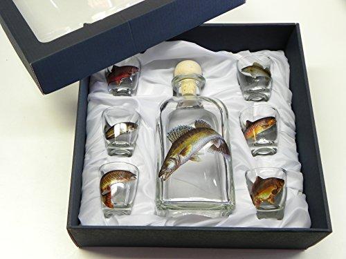 7-teiliges Schnaps Gläser Set mit Fisch Motive + Karaffe mit ZANDER