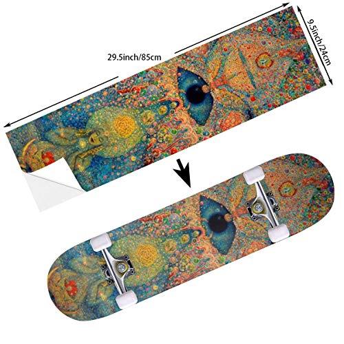 Keceur Zen Buddha Trippy Skateboard Grip Tape,9.5 x 33.5 inch, Longboard Griptape, Scooter Sticker for Rollerboard, Stairs, Gun, Pedal, Pistol, Wheelchair, Step