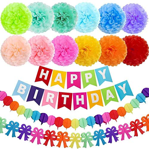 Colorful Birthday Decorations Birthday Party Decorations Favors Includes 12PCS Paper Pompoms, Tissue Paper Garland, Happy Birthday Banner, Rainbow Garland for Party Decoration Supplies Mexican Party