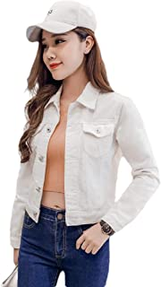 Howely Womens Button Down Fitted Candy Short Denim Jacket with Pockets