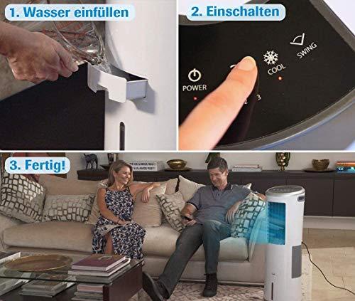 Livington InstaChill – Klimagerät mit Verdunstungskühlung – mobiles Klimagerät mit 3 Stufen – Klimagerät ohne Abluftschlauch 12h Kühlung mit 8,5 L Tank - 4