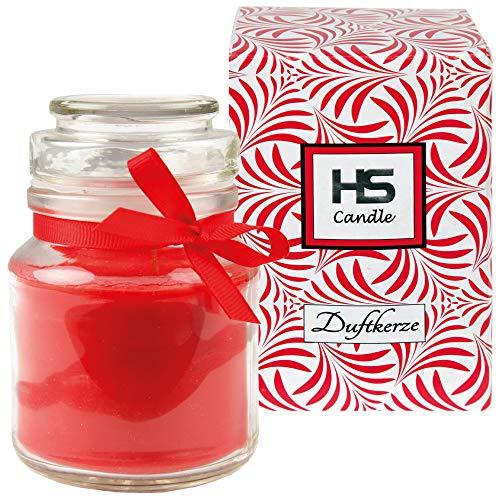 HS Candle Vela perfumada en vaso de cristal, vela de 10 cm x 7 cm de diámetro, en caja de regalo, 120 g de cera, duración de combustión de 30 horas, vela perfumada de cristal BonBon con tapa