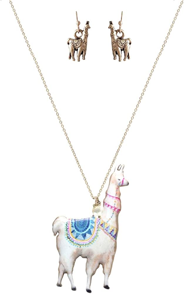 Wonderent White Llama Fashion Pendant Necklace/w Earrings