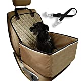 Flow.month Pet Front Seat Cover Pet Booster Seat,Deluxe 2 in 1 Dog Seat Cover for Cars Waterproof Dog Front Seat Cover Pet Bucket Seat Cover with Safety Belt(Beige)
