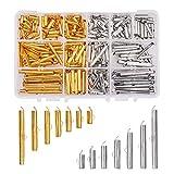 PandaHall Elite alrededor de 240 piezas de 7 tamaños deslizantes en el extremo de los tubos de platino y dorado, tapas de extremo de engarzado para hacer collares y pulseras de múltiples hebras