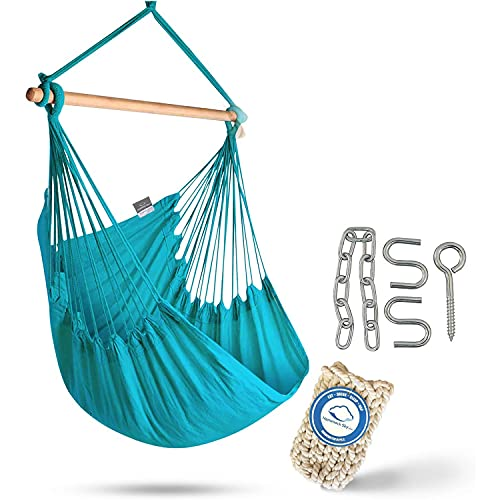 XXL Hammock Chair Swing by Hammock Sky - for Patio, Porch, Bedroom, Backyard, Indoor or Outdoor - Includes Hanging Hardware and Drink Holder (Limpet Shell)