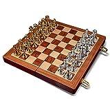 ADSE Traditional Games Chess Juego de ajedrez Internacional con Tablero de ajedrez de Madera Plegable y Piezas estándar Juego de ajedrez de Metal para niños y Adultos (tamaño: B)