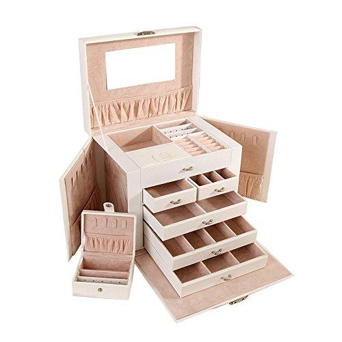 Asvert Caja joyerías Organizador de Joyerías con Espejo 26.5 x 19.8 x 23cm Caja Joyero para Viaje Exhibición de Joyas, Regalo