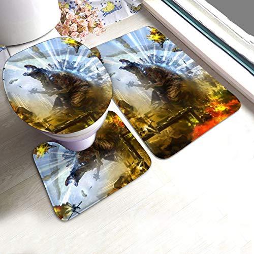 Agnes Carey Juego de alfombras de 3 Piezas, Absorbente Antideslizante para alfombras de baño, Godzilla King of The s VS Shin Godzilla War Shower Alfombras para Fregadero de Cocina