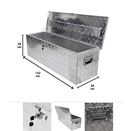 Grafner Aluminium Box 176 Liter aus massivem Riffel-Blech, mit Schloss & 2 Schlüssel und Griffen, 1220 x 380 x 380 mm, Transportbox Transportkiste Munitionskiste Werkzeug Alu Kiste