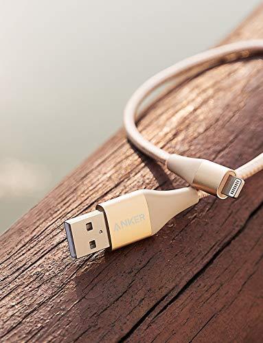 Anker Powerline+ II iPhone Kabel 3m iPhone Ladekabel Lightning Kabel Nylon, MFi Zertifiziert mit dem iPhone XS/XS Max/XR/X / 8/8 Plus / 7 / 6s / 6/ iPad und mehr (Gold)