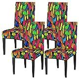 Juego de 4 fundas para sillas de comedor, diseño de lobo, luna, elástica, fundas de silla lavables, protector de asiento extraíble para cocina, hotel, restaurante, fiesta ceremonia