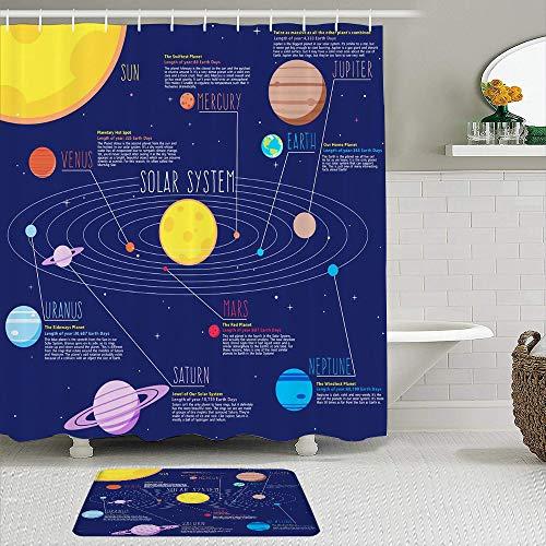 LISNIANY Duschvorhangmatten Set,Sonnensystem Planeten Sterne und Milchstraße Galaxie Weltraum Astronomische Sonne Merkur Venus Erde Mars Jupiter Saturn Uranus Neptun Kosmos Nebel