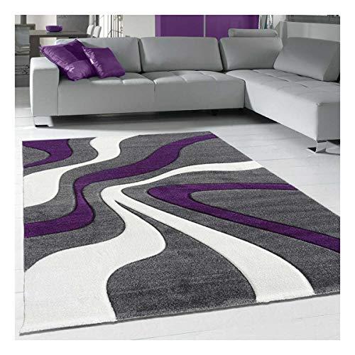 Alfombra moderna para salón o alfombra cuadrada de 160 x 160 cm, color morado