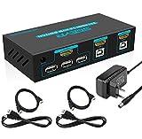 SGEYR 2x1 Port HDMI 2.0 KVM Switch 4K 60Hz USB KVM Umschalter HDMI 2 In 1 Out mit Tastatur Maus Schalter Auto Scan USB2.0 Hub Kabel Kits Unterstützung HDCP 2.2 4K 2K 3D 1080P YUV4:4:4