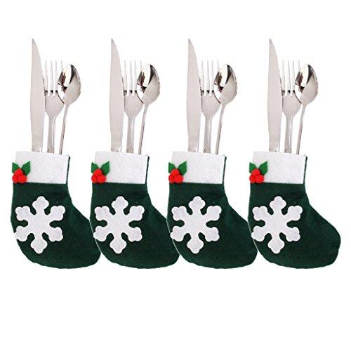 dailymall 4pcs Navidad Decoración de Navidad Muñeco de Nieve Copo de Nieve Cocina Vajilla Titular Bolsillo Cena Cubiertos Bolsa - Verde 4, Individual