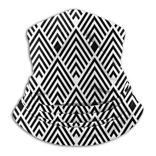 brandless Face Mask Black and White Art Deco Retro Vintage Revival Diamond Pattern Ski Mask Hat Neck Gaiter Headwear for Women Men