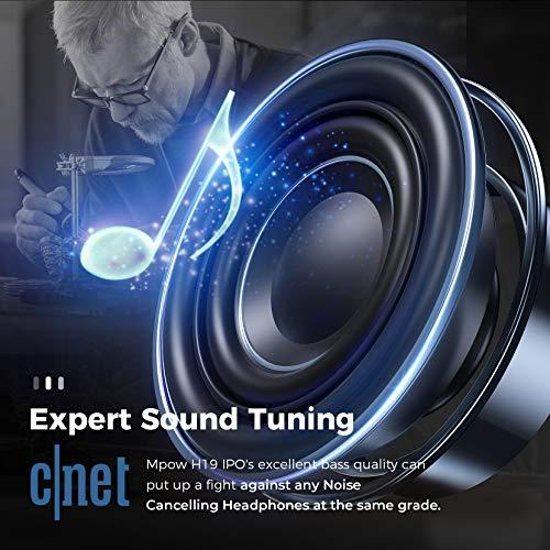Casque Bluetooth à Réduction de Bruit san Fil, Mpow H19 IPO Casque Bluetooth Audio sans Fil avec CVC 8.0 Micro, 35H Casque Stéréo HiFi, Charge Rapide Casque et Mode Filaire, pour Téléphone PC TV