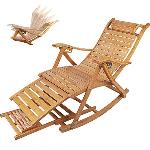 Bamboo Reclining Sun Lounger, Adjustable Sun Patio Lounger Recliner Chairs Outdoor with Headrest Pillow and Foot Massage Board