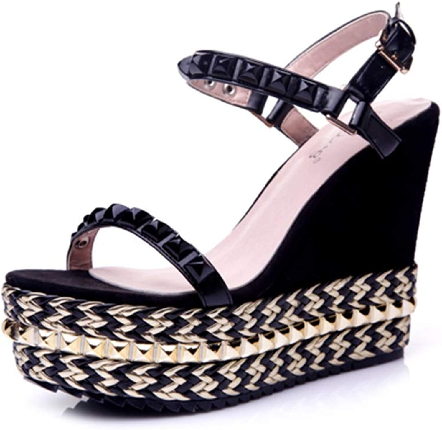 Summer Wedge sandals Waterproof Riveted Straw sandals Thick high-Heeled Small Size Female shoes Fashion Sexy Summer shoes (high 11cm) (Size   32)