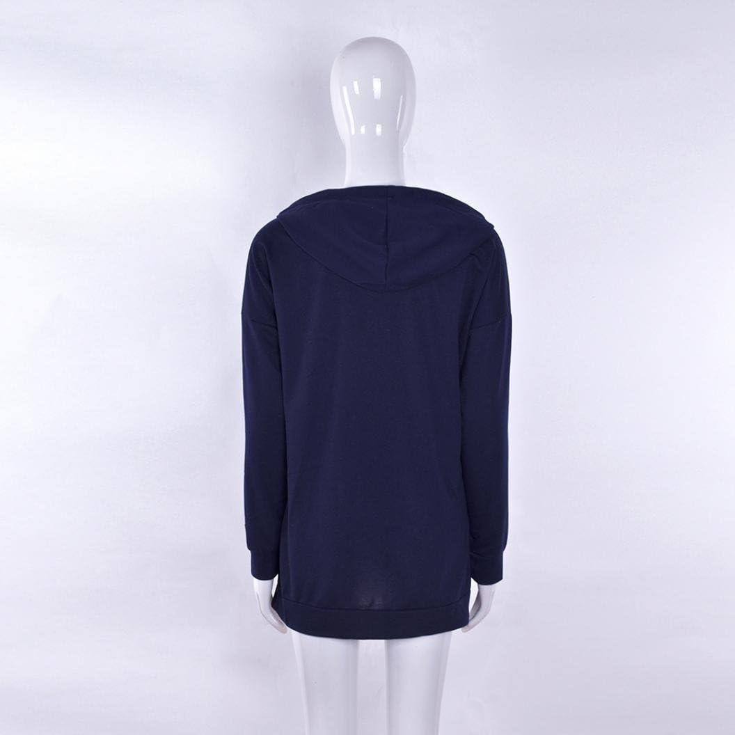 Damen Lange Mäntel Sunday Frauen Langarm Hoodie Sweatshirt Lässige Abendgesellschaft Mini-Kleid Marine