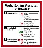 Schild Aushang Verhalten im Brandfall Alu 18 x 20 cm (Verhaltensregeln, Brandschutz Feuer/Notfall) wetterfest