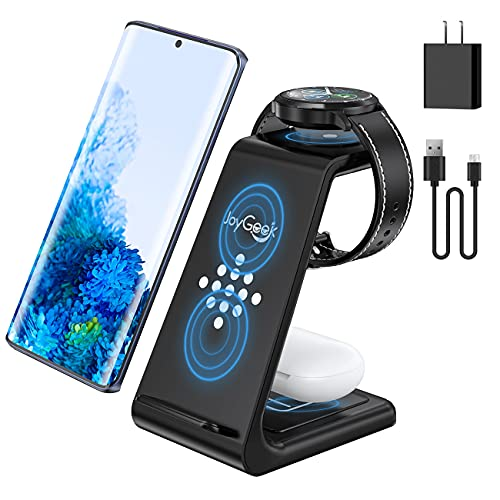 JoyGeek Wireless Charger for Samsung, 3 in 1 Fast Charging Station for Samsung Galaxy Watch 3/Active 2/Gear S3, Galaxy S21/S20/S20+/S10/S9/S8, Note 20/Note 10/Note 9/Note 8, Galaxy Buds Pro/Live
