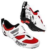 Triseven Premium - Zapatillas de ciclismo para triatlón, ultraligeras, transpirables, color rojo y blanco