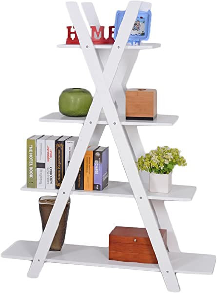 Facilehome 4 Tier X Shape Bookshelf Bookcase 4 Racks For Books Potted Plant MDF Wood White