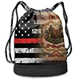 Mochila de Cuerda, West Virginia Thin Red Line Flag Art Multipurpose Eco-Friendly Luggage Drawstring Backpack Bag Bundle Pocket Daypack Gym Eco-Friendly Luggage Drawstring Backpack Shoulder Bags