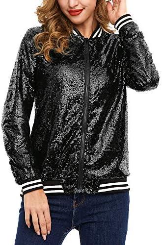 Women s Mermaid Sequin Blazer Long Sleeve Clubwear Lightweight Zip Bomber Jacket Black S product image