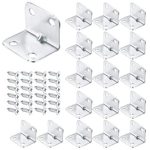 20 pinzas de acero inoxidable para montaje de muebles, ángulo de fijación en forma de L, ángulo de acero, conector de madera para armario, armario y sillas (32 x 25 mm)