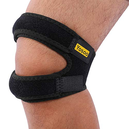 Yosoo - Rodillera para reforzar la rótula con correas ajustables, para correr, saltar, jugar al baloncesto, practicar deportes al aire libre o aliviar el dolor de rodilla, negro, M