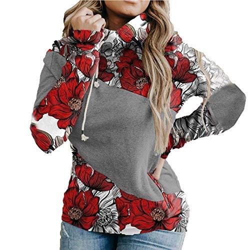 SHOBDW Damen Hoodies Farbblock Sweatshirt Gestreifte Tarnung Drucken Patchwork...