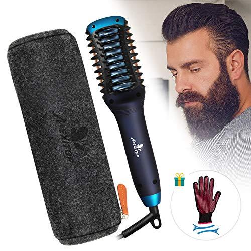 Hair Straightener Curler, Beard Straightener for Men – Mexitop 2 in 1 Hair Straightening/Curling Salon Tool, Lightweight, Dual Voltage, Bonus Glove/Clips/Woolly Cosmetic Bag ($25 Value), Metallic Blue