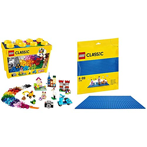 LEGO Classic - Caja de Ladrillos creativos Grande, Set de Construcción con Ladrillos de Colores, Juguete Creativo y Divertido a Partir de 4 años + Base Azul de Juguete de Construcción