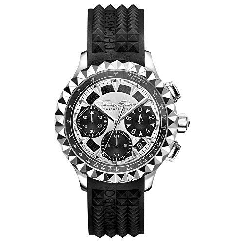 Thomas Sabo Herren Analog Quarz Uhr mit Kautschuk Armband WA0357-214-201-43 mm