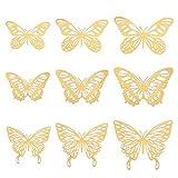 Gitua 36 Stück 3D Schmetterling Wandaufkleber, 3 Größen Mixed Schmetterlinge Wandtattoo für Wohnzimmer Kinderzimmer Badezimmer Dekoration(Gold)
